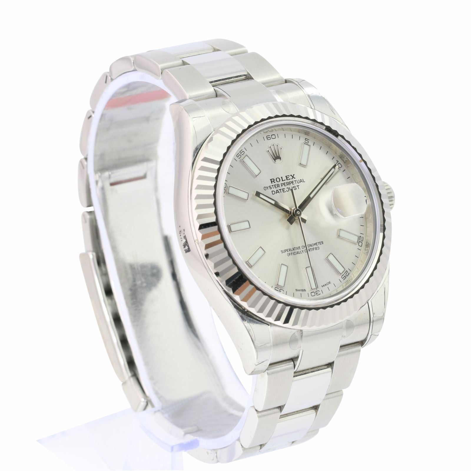 Rolex Mens White Gold & Stainless DateJust II Silver Index 116334 Fluted-Unworn - Time Keepers Vault