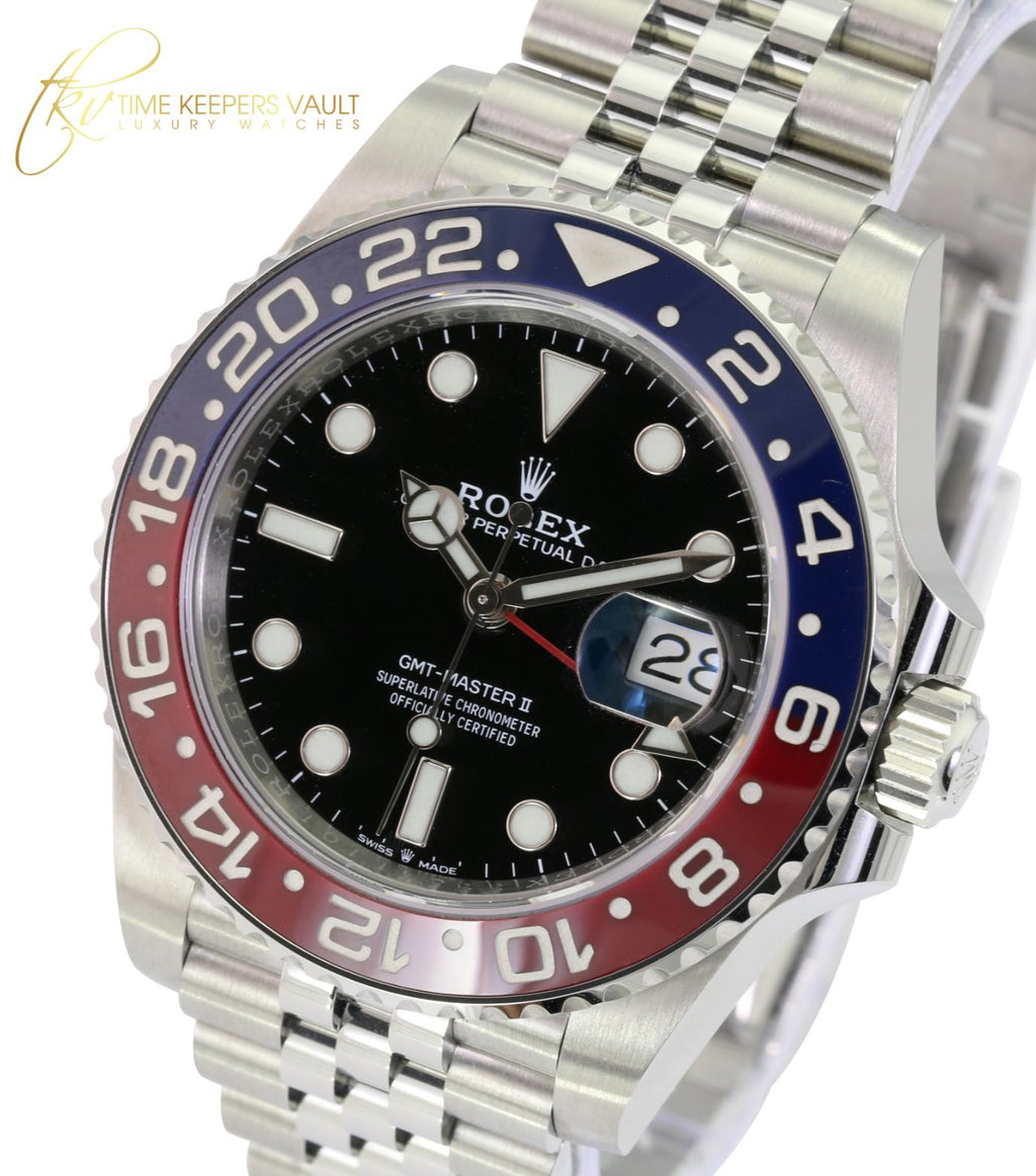 Rolex Men's GMT-Master II Pepsi 40mm 126710BLRO Jubilee Bracelet Watch 2019 Card. -Mint - Time Keepers Vault