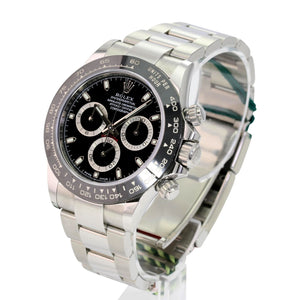 Men's Rolex Daytona Stainless Steel Black Dial Ceramic Bezel 116500 40mm Watch-Mint - Time Keepers Vault