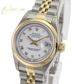 Rolex Lady Datejust 18k Yellow Gold & Steel Blue Dial 26mm White Dial 69173 -Quickset - Time Keepers Vault