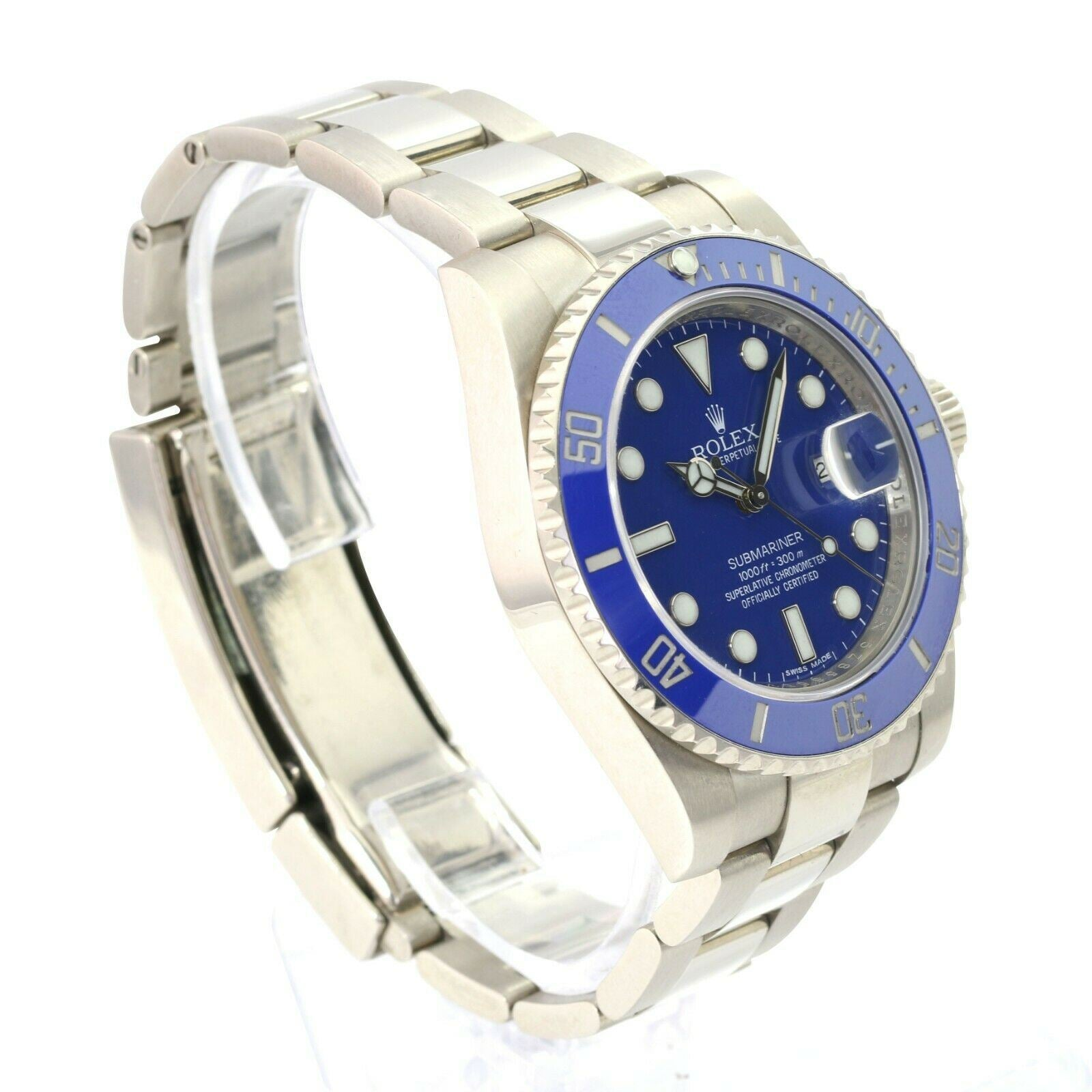 Rolex White Gold Submariner Blue CERAMIC 116619 SMURF 40mm Men's Watch - Time Keepers Vault