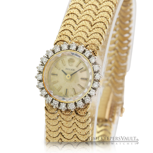 Authentic Vintage Rolex Ladies 14k Yellow Gold Diamond Watch - Time Keepers Vault