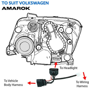 Volkswagen Amarok High Beam Piggy Back Adaptor