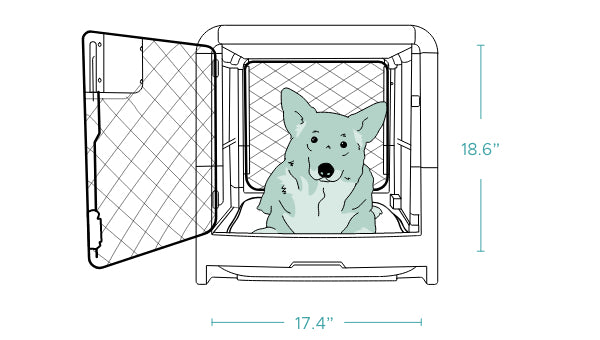 Front of Diggs dog crate with illustrated dog inside and dimensions