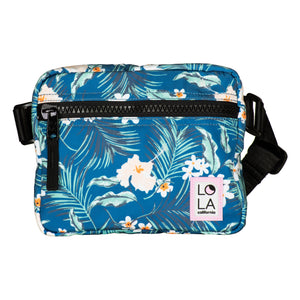 Floral Recycled Nylon Hippie Fanny Pack: Teal