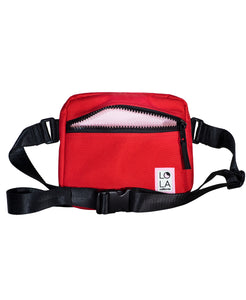 Sprite Recycled Nylon Hippie Fanny Pack: Scarlet