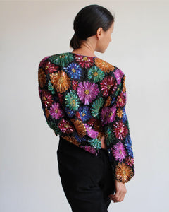 80s Daisy Sequin Cropped Jacket