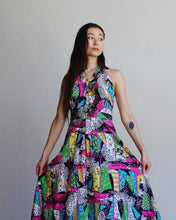 Load image into Gallery viewer, 1960s Patchwork Print Halter Dress