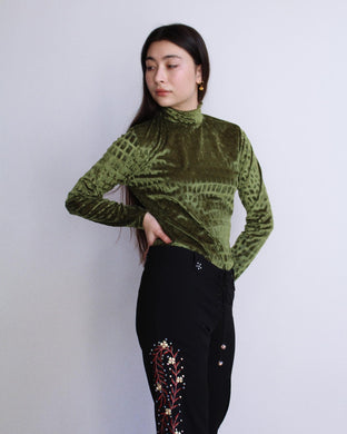 1990s Moss Green Croc Velvet Burnout Long Sleeve Blouse