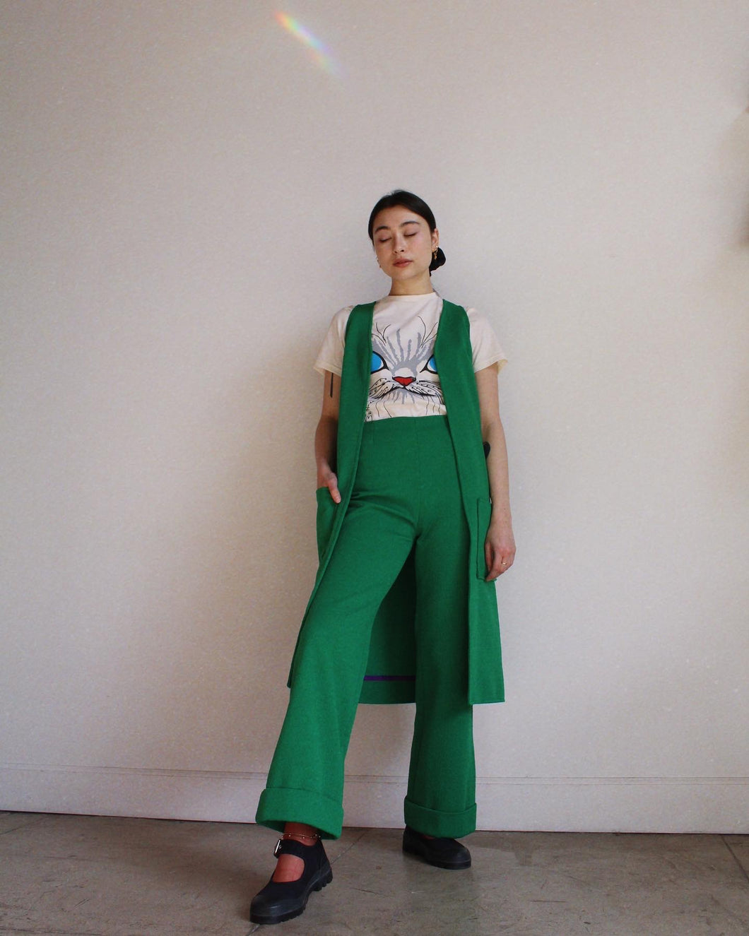 1970s Handmade Green Vest Set