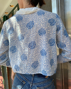 Edwardian Cotton Blue Rose Print Blouse