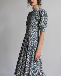 1980s Green Floral Puff Sleeve Dress
