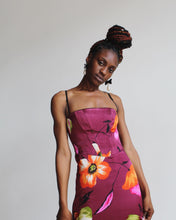 Load image into Gallery viewer, 90s Satin Poppy Print Dress