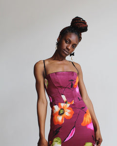 90s Satin Poppy Print Dress
