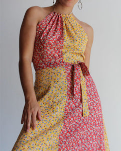 Calico Patchwork Wrap Dress