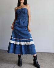 Load image into Gallery viewer, 90s does 70s Denim Strapless Dress