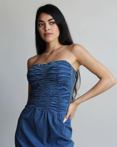 90s does 70s Denim Strapless Dress