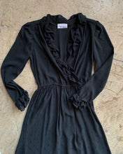 Load image into Gallery viewer, 1970s Black Ruffle Dress