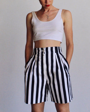 Black & White Striped Shorts