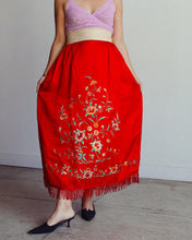 Load image into Gallery viewer, Antique Chinese Red Silk Embroidered Robe Skirt