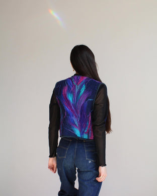 1970s Fibre Art Birds of Paradise Felted Wool Quilted Vest
