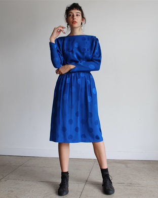 1980s Blue Silk Polka Dot Set
