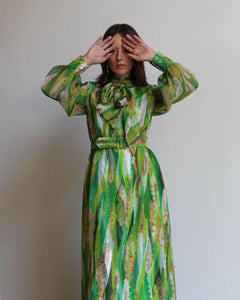 1960s Green Psychedelic Dress