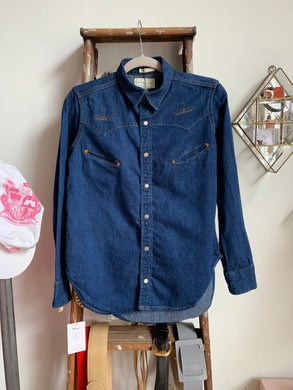 1970s Ralph Lauren Dead Stock Denim Western Button-up