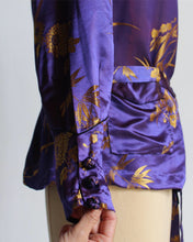 Load image into Gallery viewer, 1930s Deep Purple + Gold Sharkskin Silk Brocade Chinese Jacket