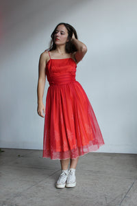 1950s Red Sheer Nylon Party Dress