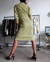 Load image into Gallery viewer, 1950s Celery Green Gabardine Structured Wiggle Dress