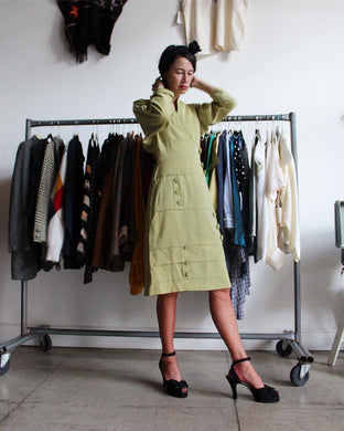 1950s Celery Green Gabardine Structured Wiggle Dress