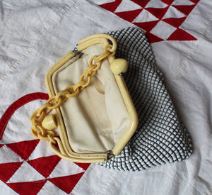 1940s Whiting & Davis Mesh Bakelite Celluloid Purse