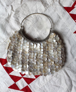 90s Capiz Shell Metal Ring Handbag