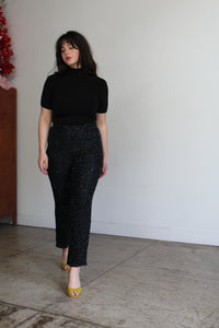 1990s Black Silk Beaded Pants