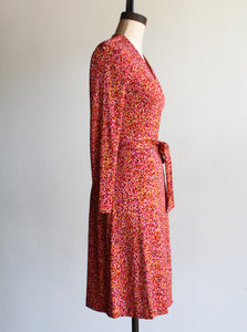 90s Diane Von Furstenberg Silk Wrap Midi Dress
