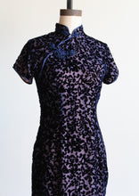 Load image into Gallery viewer, 90s Navy Blue + Baby Pink Silk Velvet Burnout Cheongsam