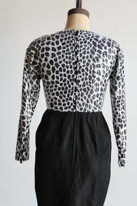 80s Sequined Animal Print Party Dress
