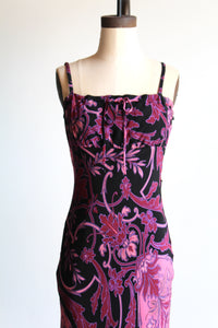 90s Betsey Johnson Floral Print Midi Slip Dress