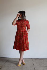 1950s Red Cotton Atomic Print Dress