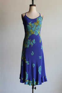 90s Betsey Johnson Indigo Floral Midi Slip Dress