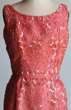 Load image into Gallery viewer, 1960s Coral Silk Taffeta Wiggle Dress