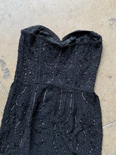 Load image into Gallery viewer, 1950s Black Beaded Ceil Chapman Strapless Dress
