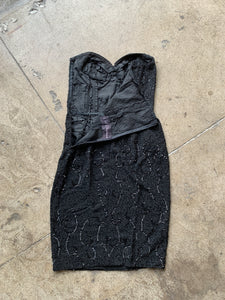 1950s Black Beaded Ceil Chapman Strapless Dress