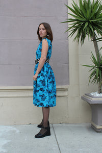 1950s Blue Floral Cotton Dress