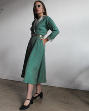 Load image into Gallery viewer, 1950s Jade Green Iridescent Silk + Satin Wrap Dress w/ Belt