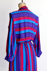 1970s California Girl Striped Dress