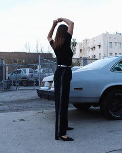 1980s Saint Laurent Sequin Tuxedo Pants