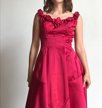 Load image into Gallery viewer, 1950s Harlene Raspberry Pink Silk Satin Couture Gown
