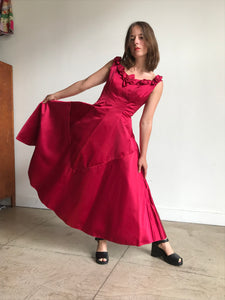 1950s Harlene Raspberry Pink Silk Satin Couture Gown